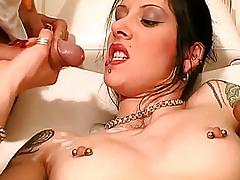 Lad cums on her pierced scones