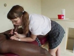 Black dude fucks the schoolgirl nearby the ass