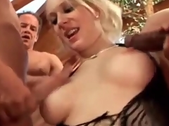 Blonde in black underclothes gobbles knob in blowbang