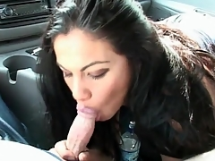 Gorgeous brunette babe sucks dick in the car