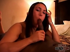 Black weasel words gets hard in her sexy sucking mouth