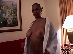 Slut sucking dick in hotel room has great tits