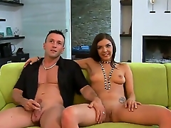 Petite and sweet  Henessy is getting double vividness from two very horny studs