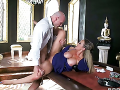 Abbey Brooks with huge boobs cant live a day without getting fucked by Johnny Sinss sturdy pole