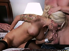 Helly Hellfire grabs this guy's cock and sucks it hard almost a sweet porn video