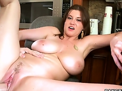 MILF Sarah Stone riding cock with her dear wet trimmed pussy