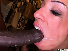 Monica Santhiago opens her oiled up ass and takes huge black cock in her twat