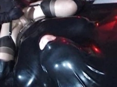 Kinky girl sits on his blarney while he is to latex